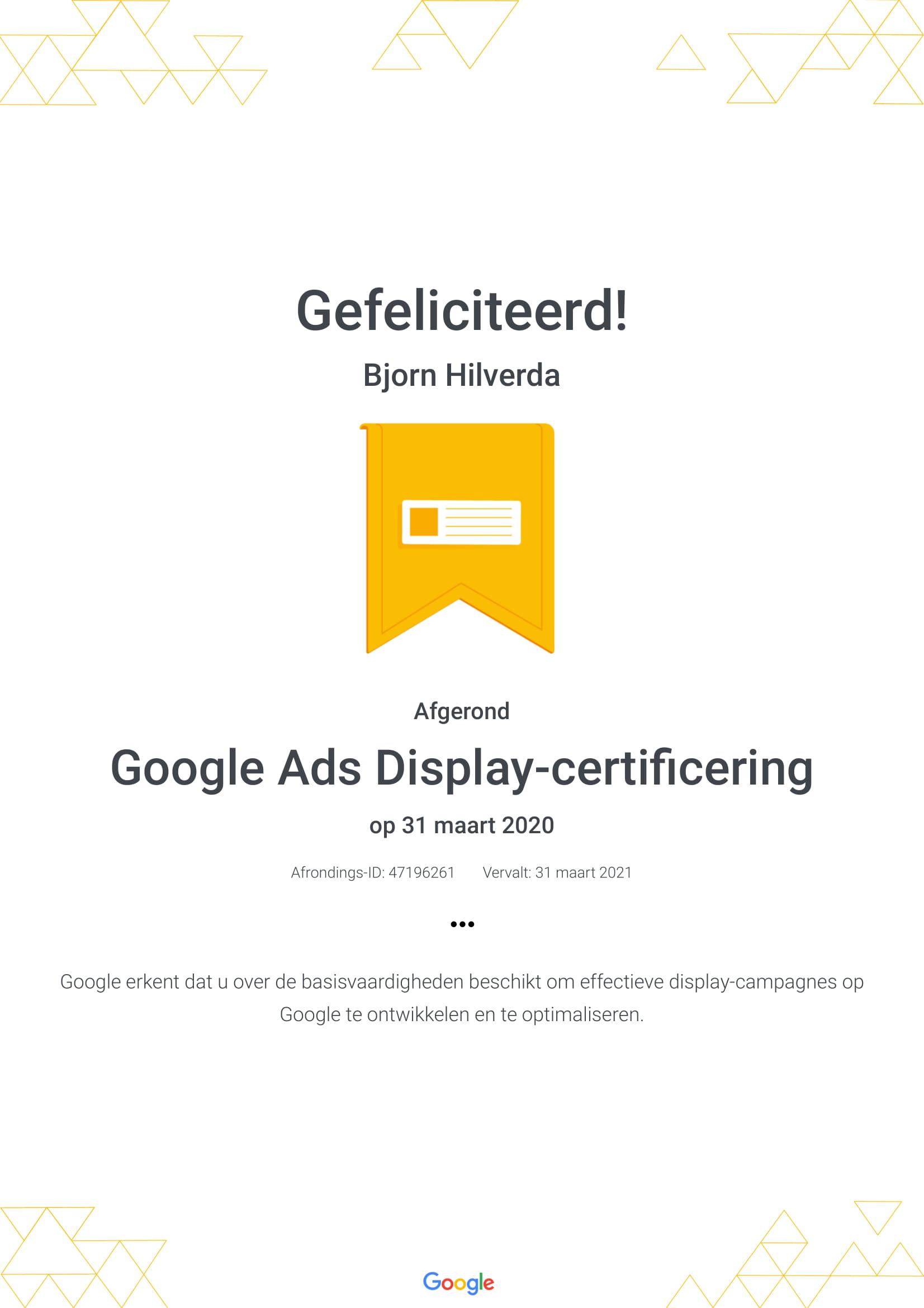 Google Ads Display certificaat