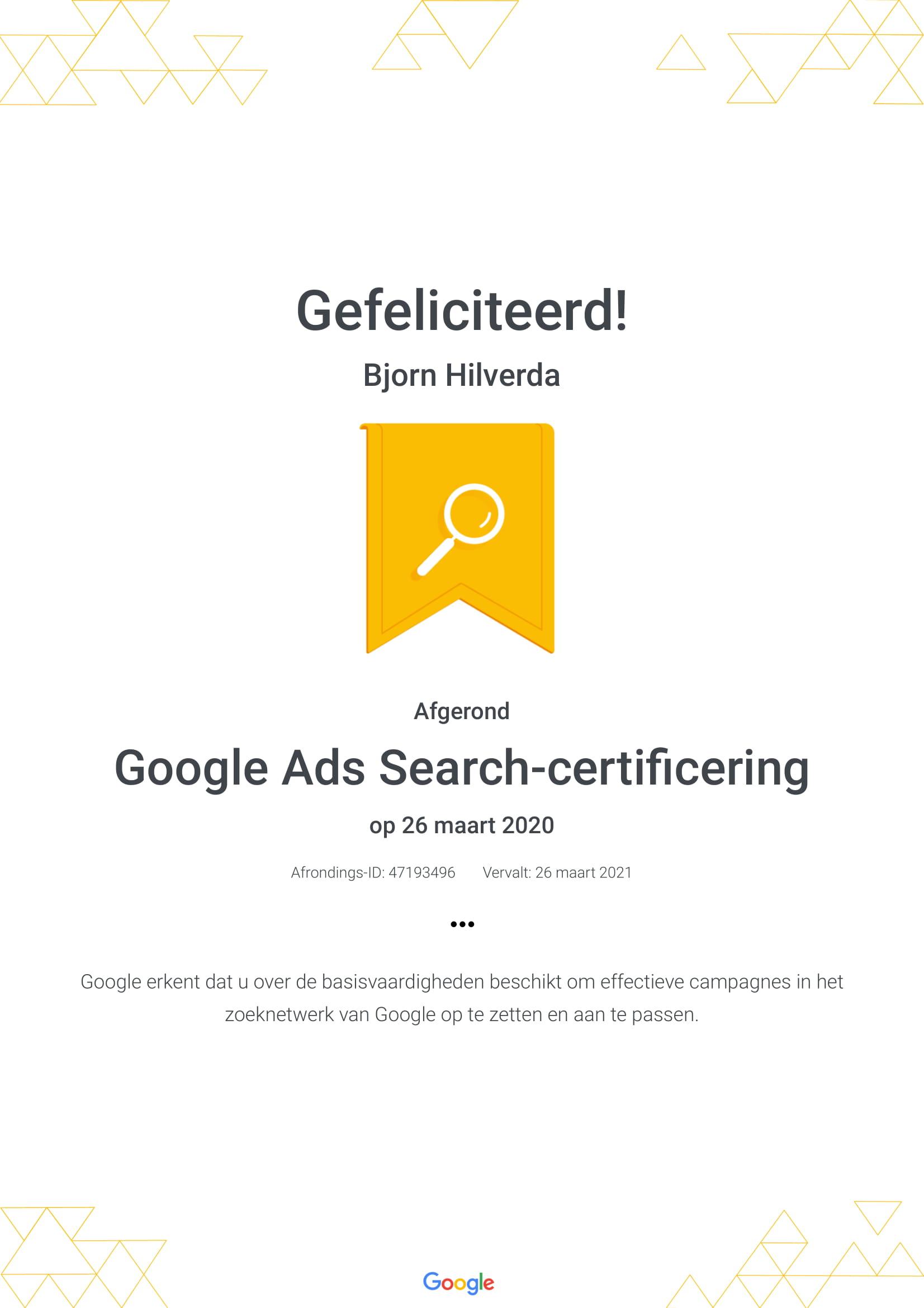 Google zoeken certificering